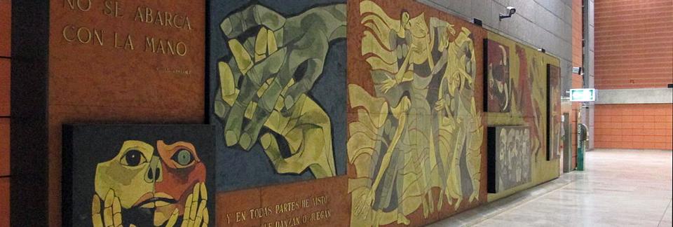 Oswaldo Guayasamín Mural at Barajas Airport in Madrid